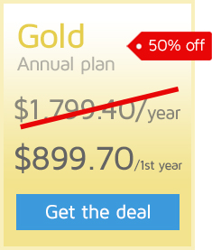 50% off the first year of an Annual GTmetrix PRO Gold plan