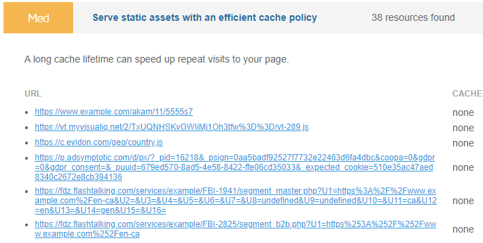 Expanded view of Serve static assets with an efficient cache policy audit
