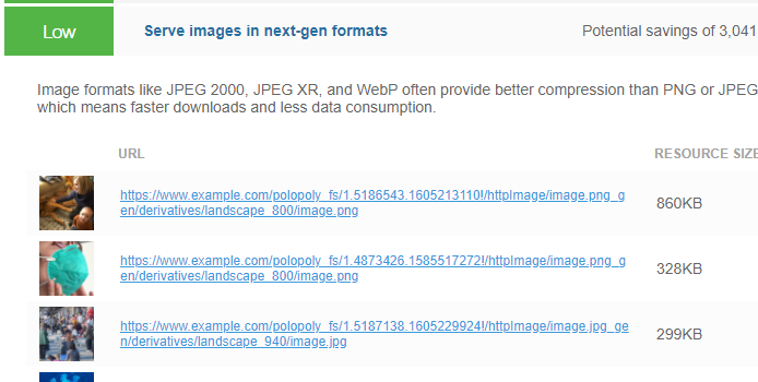 Expanded view of Serve images in next-gen formats audit