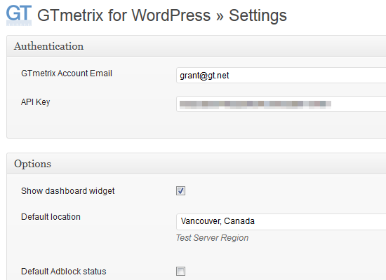 GTmetrix for WordPress Settings page