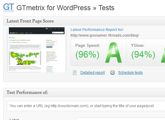 GTmetrix for WordPress Tests page