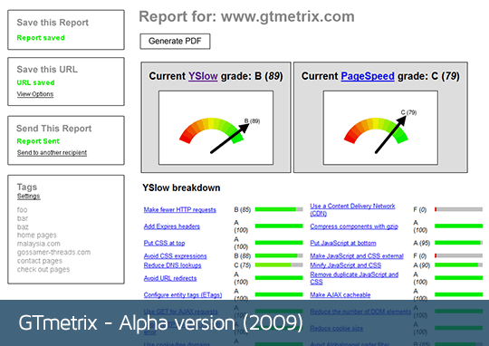 GTmetrix alpha version